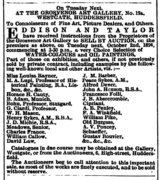 File:Huddersfield Chronicle 29 September 1894 - Art Auction.png