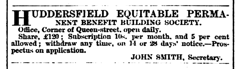 File:Huddersfield Chronicle 14 January 1865 Huddersfield Equitable Permanent Benefit Building Society.png