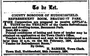 Huddersfield Daily Chronicle 31 January 1894 - To Be Let.png