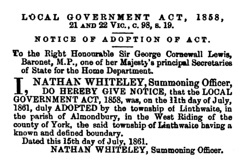 File:Linthwaite - Huddersfield Chronicle 03 August 1861.png