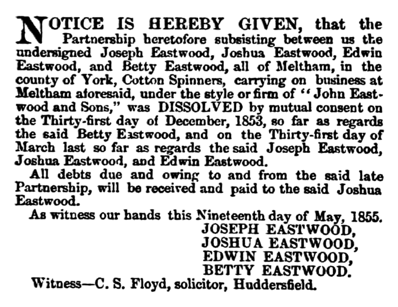File:John Eastwood and Sons (Meltham) - Huddersfield Chronicle 26 May 1855.png