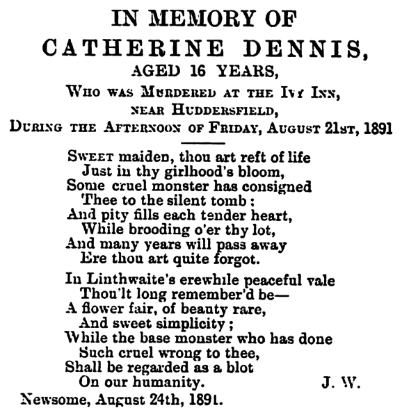 File:Huddersfield Daily Chronicle 26 Aug 1891 - In Memory of Catherine Dennis.png