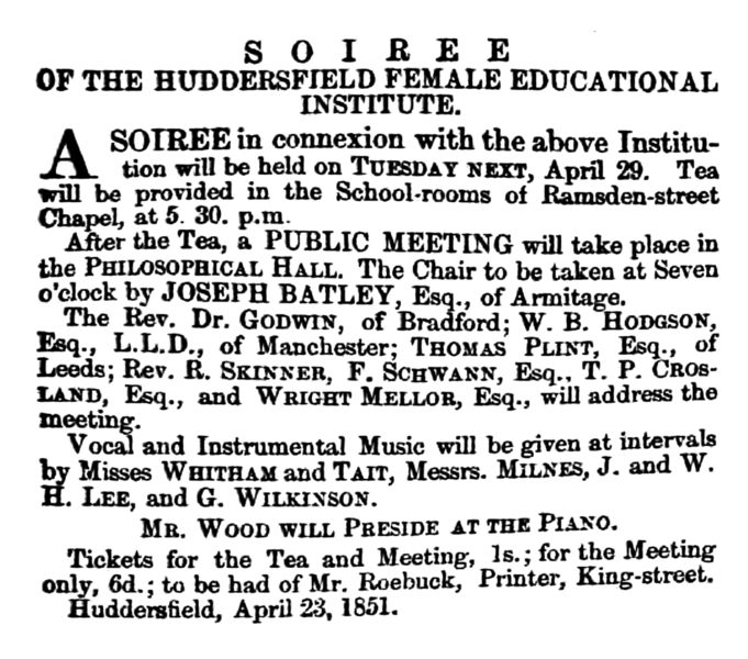 File:Huddersfield Female Educational Institute - Huddersfield Chronicle 26 April 1851.png