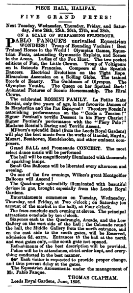 File:Huddersfield Chronicle 21 June 1856 - Public Notices, Pablo Fanque.png