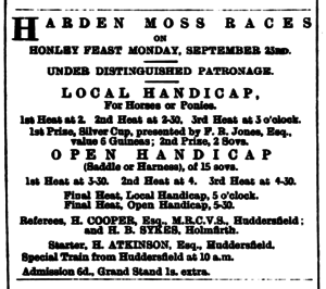 Huddersfield Chronicle 21 Sep 1895 - Public Notices, Harden Moss Races.png