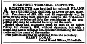 Holmfirth Technical Institute - Huddersfield Chronicle 05 December 1891.png
