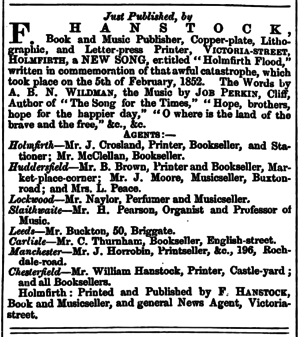 Huddersfield Chronicle 20 Nov 1852 - Publications, Holmfirth Flood.png