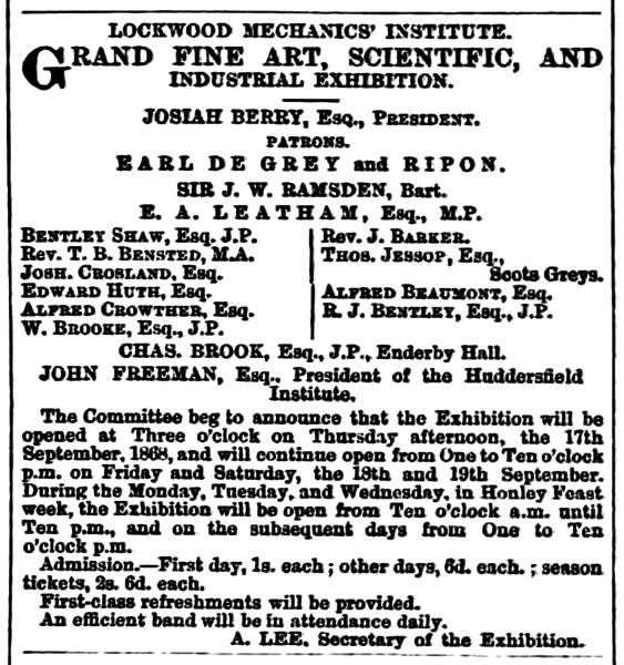 File:Huddersfield Chronicle 19 September 1868 - Public Notices, Lockwood Mechanics' Institute.png