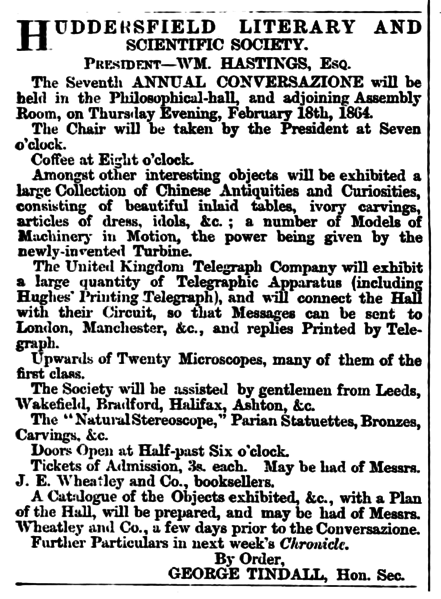 File:Huddersfield Chronicle 06 February 1864 Huddersfield Literary and Scientific Society.png
