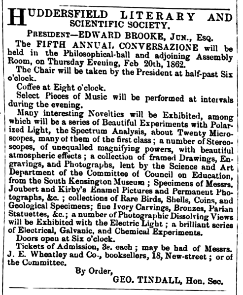 File:Huddersfield Chronicle 15 February 1862 Huddersfield Literary and Scientific Society.png