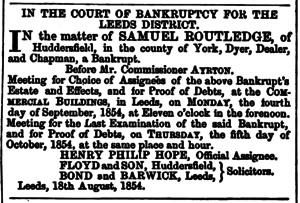 Huddersfield Chronicle 19 August 1854 Routledge.png