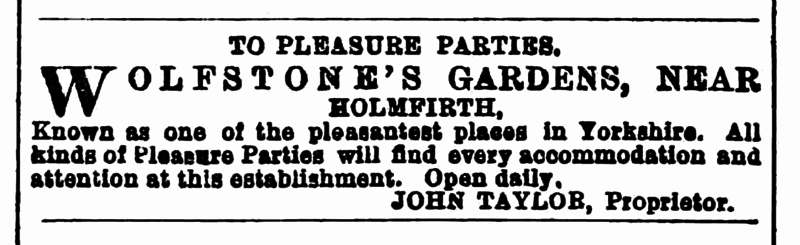 File:Huddersfield Chronicle 31 May 1884 - Wolfstone's Gardens.png