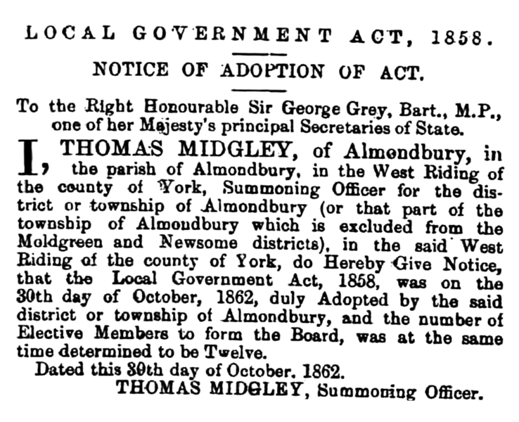 File:Almondbury - Huddersfield Chronicle 08 November 1862.png