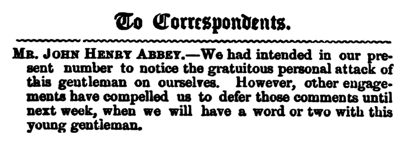 File:Huddersfield Chronicle 14 April 1855 - To Correspondents.png