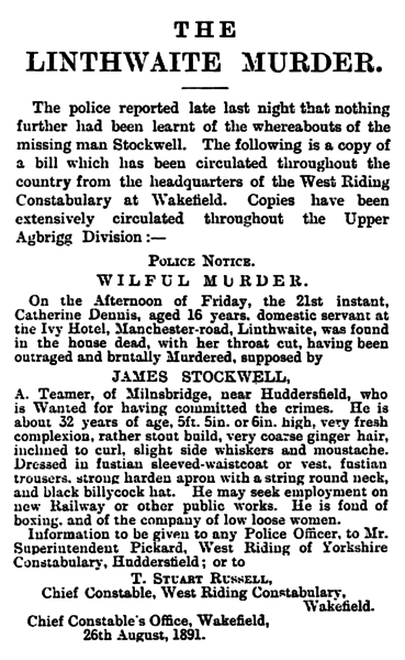 File:Huddersfield Daily Chronicle 28 Aug 1891 - The Linthwaite Murder.png
