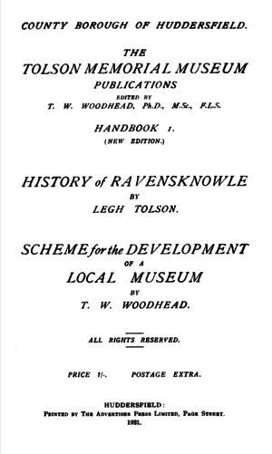 Cover of History of Ravensknowle & Scheme for the Development of a Local Museum (1921).png